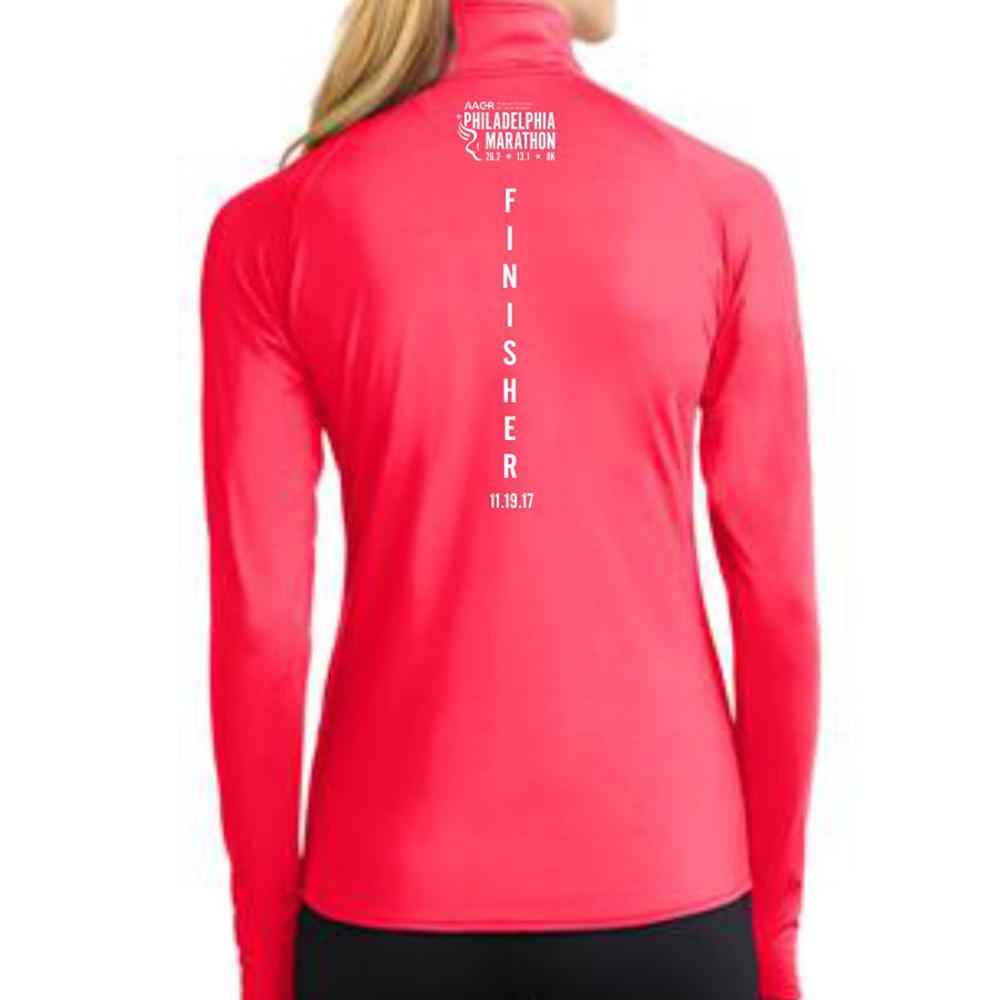 AACR Philadelphia Marathon: '2017 Finisher 26.2' Women's Pullover Thumbhole 1/2 Zip - Hot Coral - by Sport-Tek