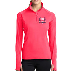 Philadelphia Marathon: '2017 Finisher 26.2' Women's Pullover Thumbhole 1/2 Zip - Hot Coral - by Sport-Tek