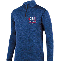 AACR Philadelphia Marathon: '2017 Finisher 26.2' Men's 'Intensify' Pullover Heathered Tech 1/4 Zip - Royal - by Augusta
