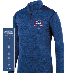 Philadelphia Marathon: '2017 Finisher 26.2' Men's 'Intensify' Pullover Heathered Tech 1/4 Zip - Royal - by Augusta