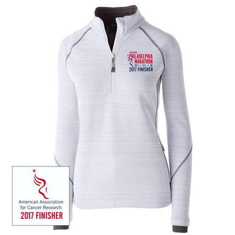 Philadelphia Marathon: '2017 Emb. Finisher 26.2' Women's 'Deviate' Pullover Tech 1/2 Zip - White - by Holloway