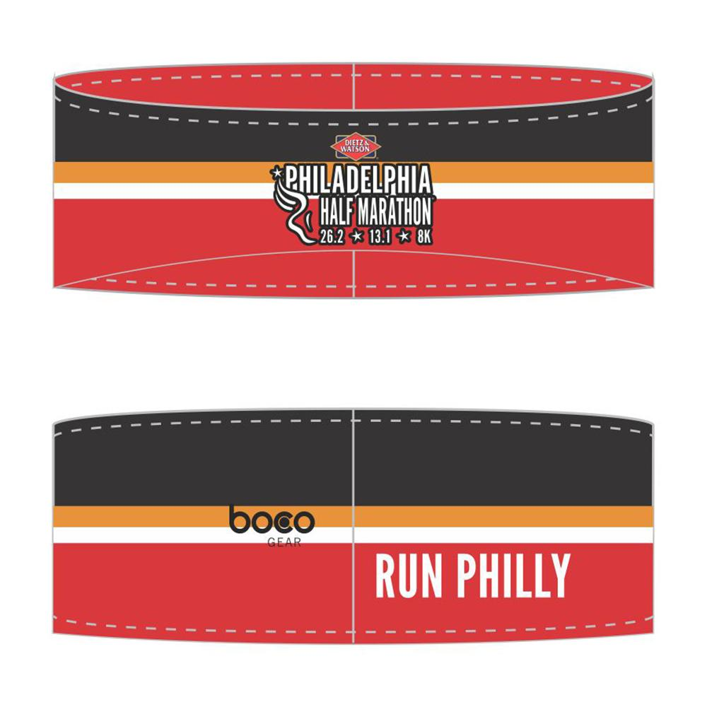 Philadelphia Marathon: 'Half Marathon' Sublimated Performance Fleece Ear Warmer - Red / Black - by Boco