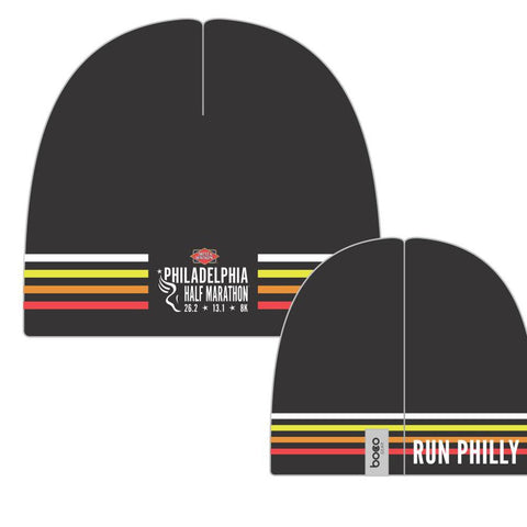 Philadelphia Marathon: 'Marathon' Sublimated Performance Fleece Beanie - Black - by Boco