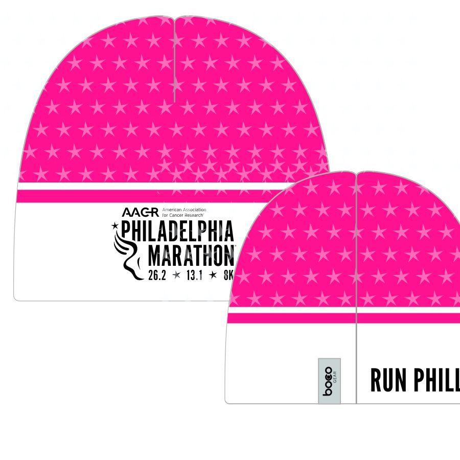 Philadelphia Marathon: 'Marathon' Sublimated Performance Fleece Beanie - Pink, White, Stars - by Boco