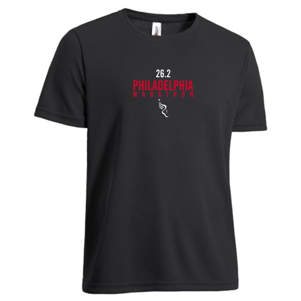 Philadelphia Marathon: '2017 Directions 26.2' Men's SS Tech Tee - Black