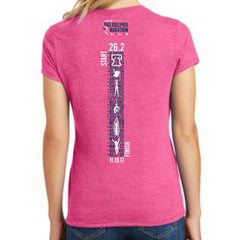 AACR Philadelphia Marathon: '2017 Directions 26.2' Women's SS Tri-Blend Tee - Fuschia Frost - by District Made
