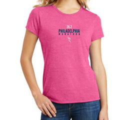 Philadelphia Marathon: '2017 Directions 26.2' Women's SS Tri-Blend Tee - Fuschia Frost - by District Made