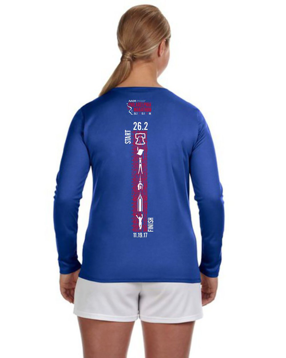 AACR Philadelphia Marathon: '2017 Directions 26.2' Women's LS Tech V-Neck Tee - Royal - by New Balance