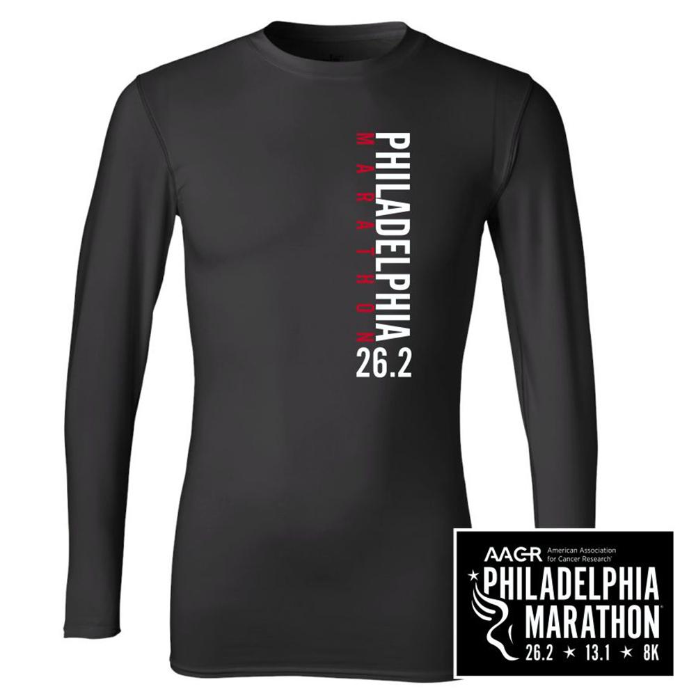 Philadelphia Marathon: 'Left Chest Print 26.2' Men's LS Compression Tee - Black - by ALL SPORT