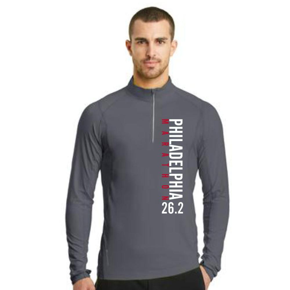 AACR Philadelphia Marathon: 'Left Chest Print 26.2' Men's Tech Pullover 1/4 Zip - Gear Grey - by OGIO