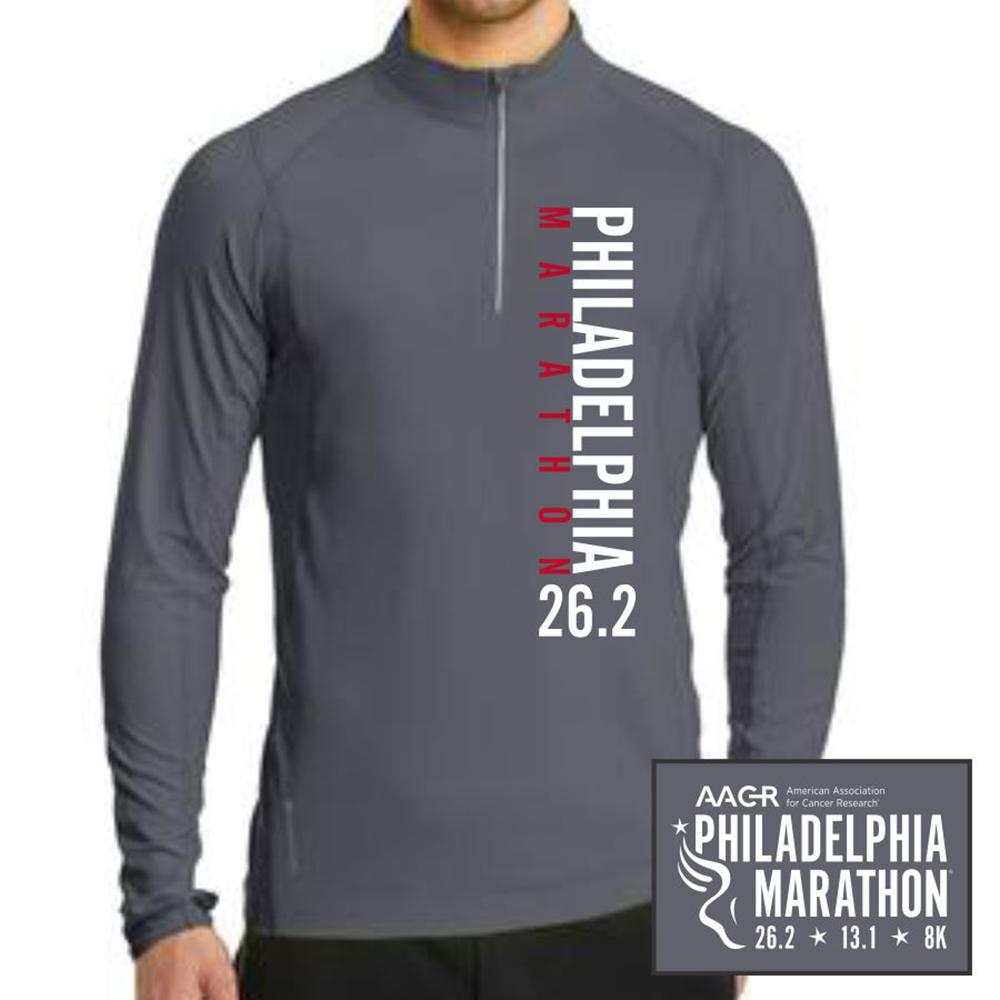 Philadelphia Marathon: 'Left Chest Print 26.2' Men's Tech Pullover 1/4 Zip - Gear Grey - by OGIO