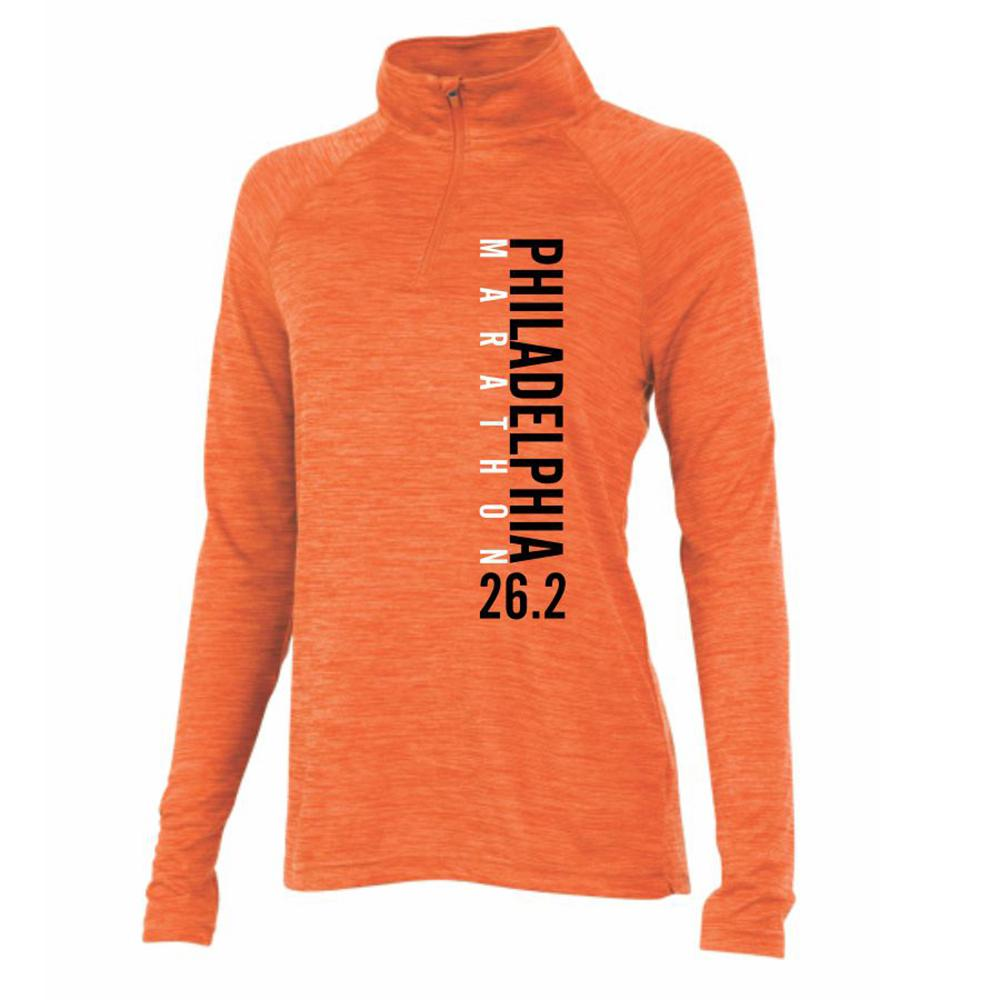 AACR Philadelphia Marathon: 'Left Chest Print 26.2' Women's Tech 'Space Dye' Pullover 1/4 Zip - Orange Heather - by Charles River
