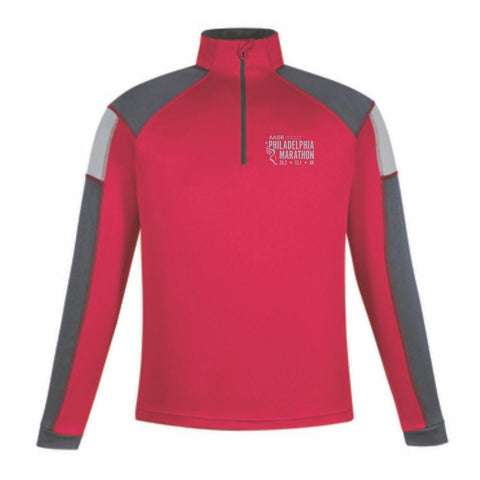 Philadelphia Marathon: 'Big Logo' Men's Tech Pullover 1/2 Zip - Classic Red - by North End