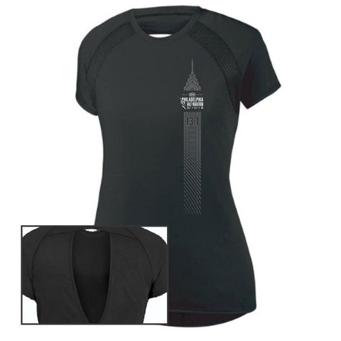 Philadelphia Marathon: 'Left Chest Print 13.1' Women's SS Tech Flounce Tee - Black - by Augusta
