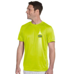 Dietz & Watson Philadelphia Half Marathon: 'Left Chest Print 13.1' Men's SS Tech Tee - Safety Green - by New Balance
