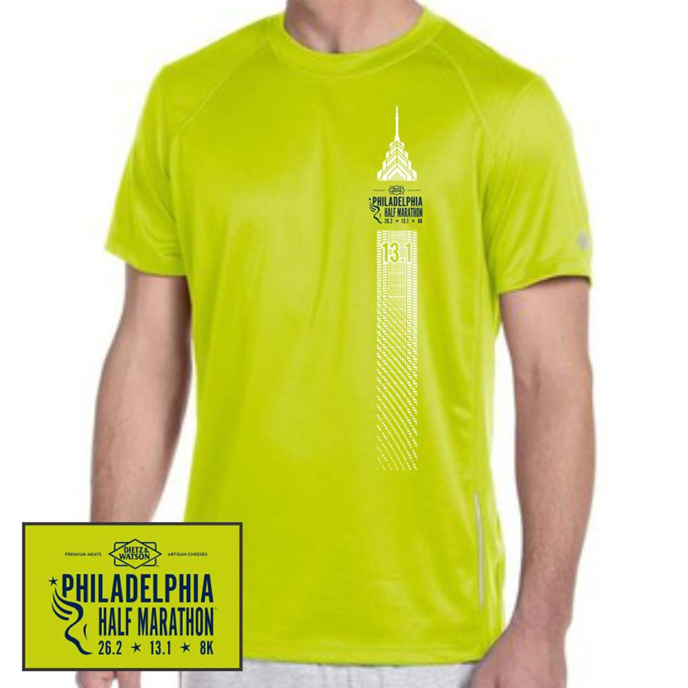 Philadelphia Marathon: 'Left Chest Print 13.1' Men's SS Tech Tee - Safety Green - by New Balance