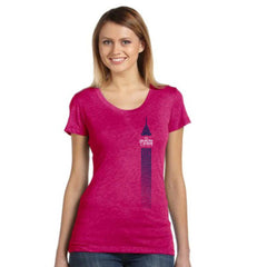 Dietz & Watson Philadelphia Half Marathon: 'Left Chest Print 13.1' Women's SS Tri-Blend Tee - Berry - by Bella