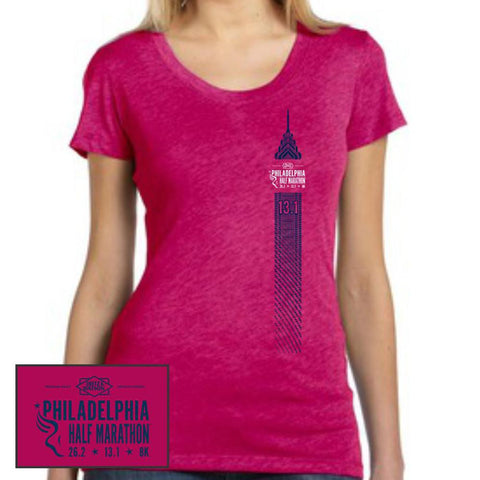 Philadelphia Marathon: 'Left Chest Print 13.1' Women's SS Tri-Blend Tee - Berry - by Bella