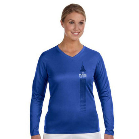 Dietz & Watson Philadelphia Half Marathon: 'Left Chest Print 13.1' Women's LS Tech V-Neck Tee - Royal - by New Balance
