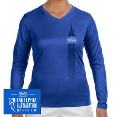 Philadelphia Marathon: 'Left Chest Print 13.1' Women's LS Tech V-Neck Tee - Royal - by New Balance