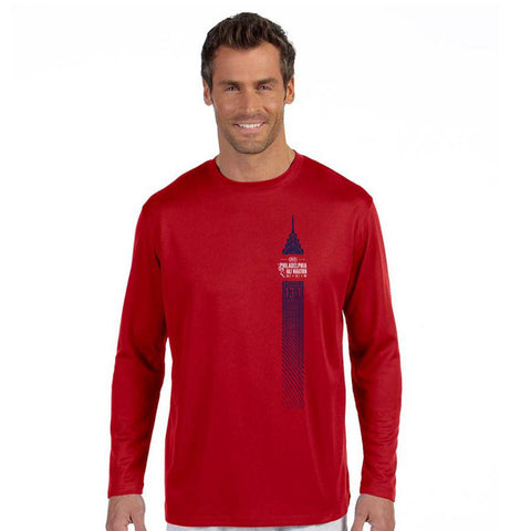 Dietz & Watson Philadelphia Half Marathon: 'Left Chest Print 13.1' Men's LS Tech Tee - Cherry Red - by New Balance