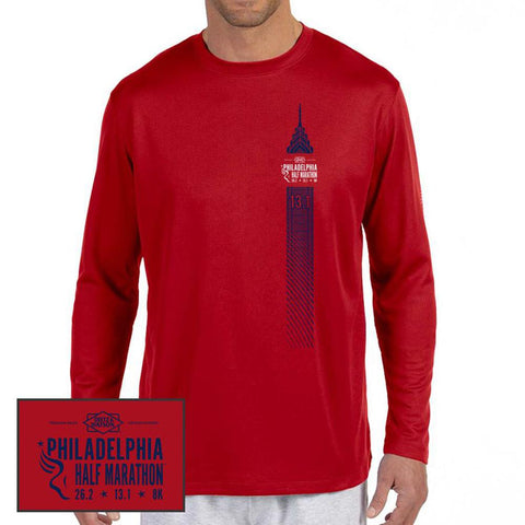 Philadelphia Marathon: 'Left Chest Print 13.1' Men's LS Tech Tee - Cherry Red - by New Balance