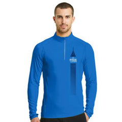 Dietz & Watson Philadelphia Half Marathon: 'Left Chest Print 13.1' Men's Tech Pullover 1/4 Zip - Electric Blue - by OGIO