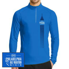 Philadelphia Marathon: 'Left Chest Print 13.1' Men's Tech Pullover 1/4 Zip - Electric Blue - by OGIO