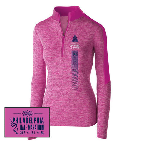 Philadelphia Marathon: 'Left Chest Print 13.1' Women's Tech 'Electrify' Pullover 1/2 Zip - Power Pink Heather/Power Pink - by Holloway