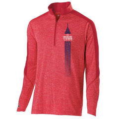 Dietz & Watson Philadelphia Half Marathon: 'Left Chest Print 13.1' Men's Tech 'Electrify' Pullover 1/2 Zip - Scarlet Heather - by Holloway