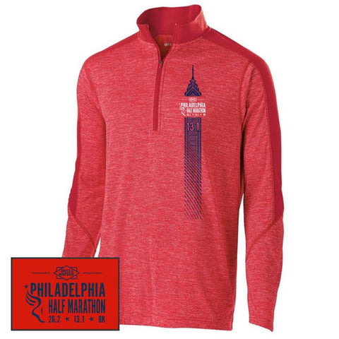 Philadelphia Marathon: 'Left Chest Print 13.1' Men's Tech 'Electrify' Pullover 1/2 Zip - Scarlet Heather - by Holloway