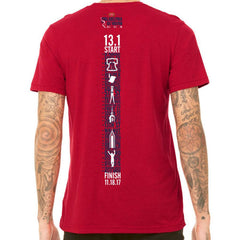 Dietz & Watson Philadelphia Half Marathon: '2017 Directions 13.1' Men's SS Tri-Blend Tee - Solid Red Triblend - by Canvas