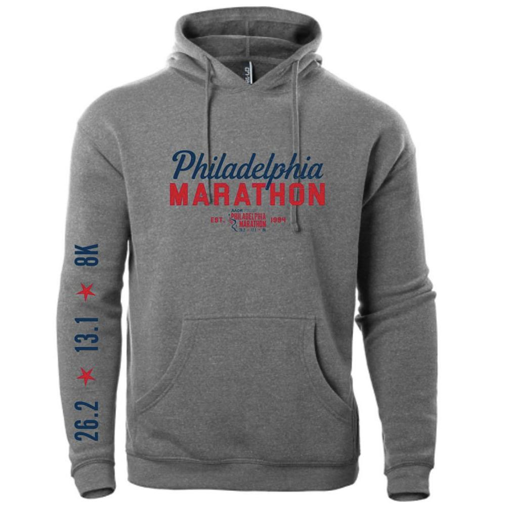 Philadelphia Marathon: 'Script' Adult Fleece Kangaroo Pocket Hoody - Athletic Heather - by Ei-Lo