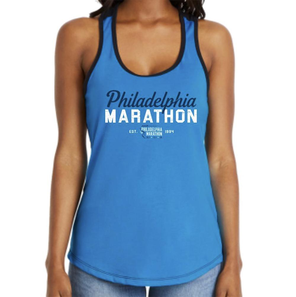Philadelphia Marathon: 'Script' Women's Racerback Fashion Singlet - Turquoise/Black - by Next level