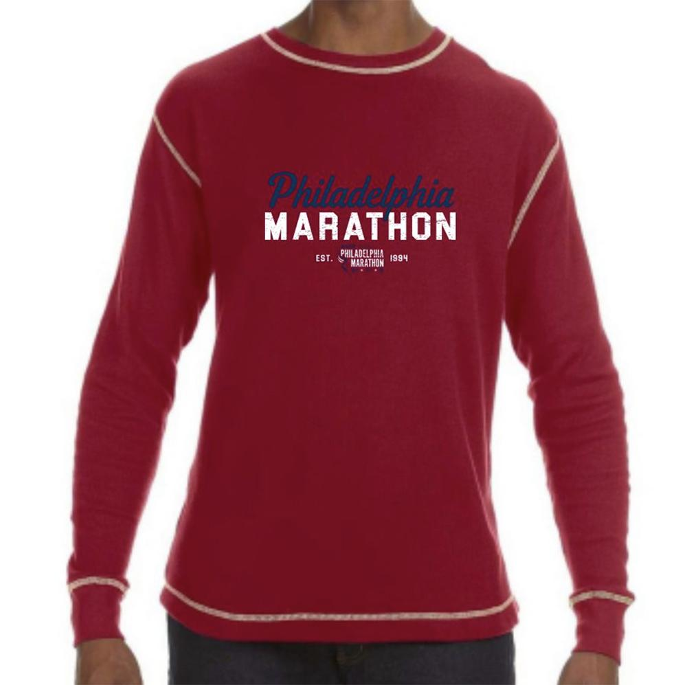 Philadelphia Marathon: 'Script' Men's LS Vintage Thermal Tee - Simply Red - by J America