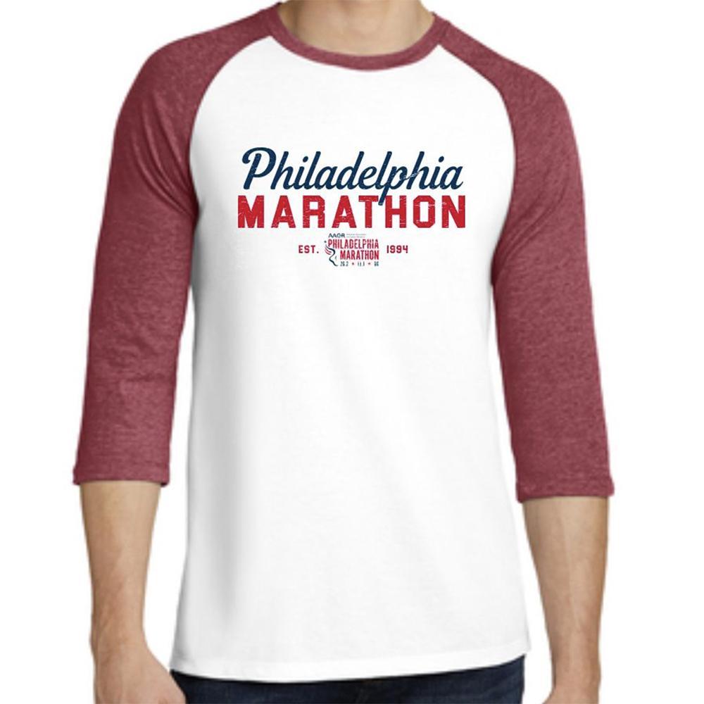 Philadelphia Marathon: 'Script' Men's 3/4 sleeve Cotton Baseball Tee - Red / White - by District