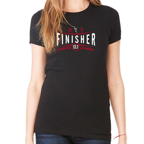 Philadelphia Marathon: '2017 Finisher 13.1' Women's SS Tri-Blend Tee - Black - by Bella