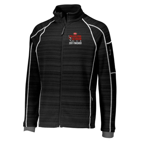 Philadelphia Marathon: '2017 Emb. Finisher 13.1' Men's 'Deviate' Full Zip Bonded Tech Jacket - Black - by Holloway