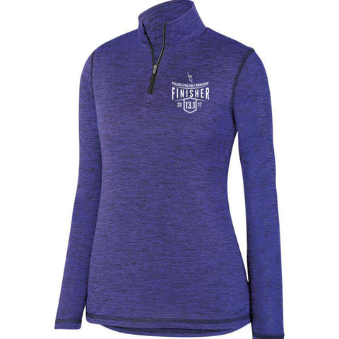 Philadelphia Marathon: '2017 Finisher 13.1' Women's Heathered Pullover Tech 1/4 Zip - Purple - by Augusta