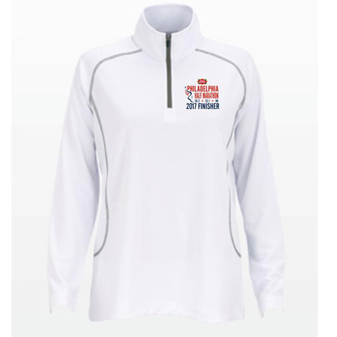 Philadelphia Marathon: '2017 Emb. Finisher 13.1' Women's 'Vansport' Pullover Tech 1/4 Zip - White