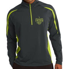 Philadelphia Marathon: '2017 Finisher 13.1' Men's Colorblock Pullover Stretch 1/2 Zip - Charcoal / Charge Green - by Sport-Tek