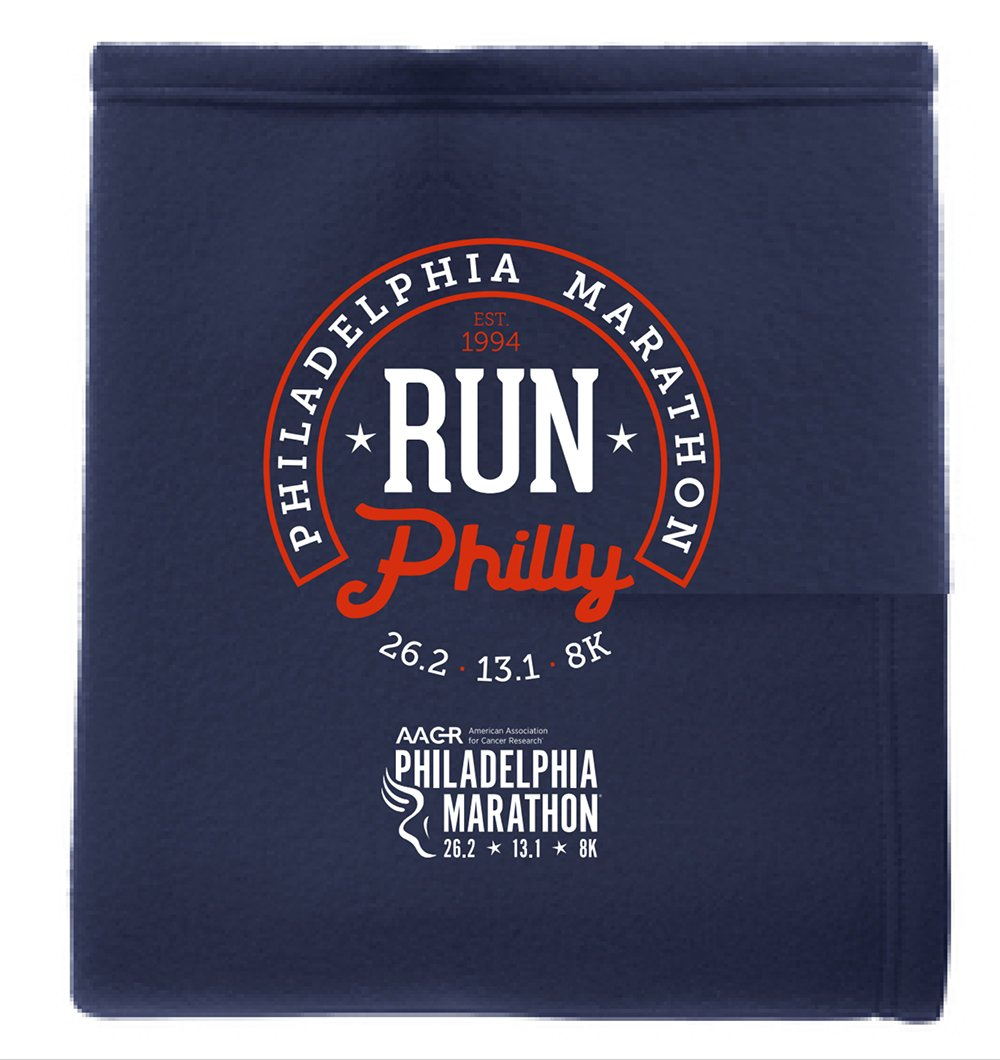 "Philadelphia Marathon: 'Horseshoe' ""Sweatshirt"" Fleece Blanket - Navy"
