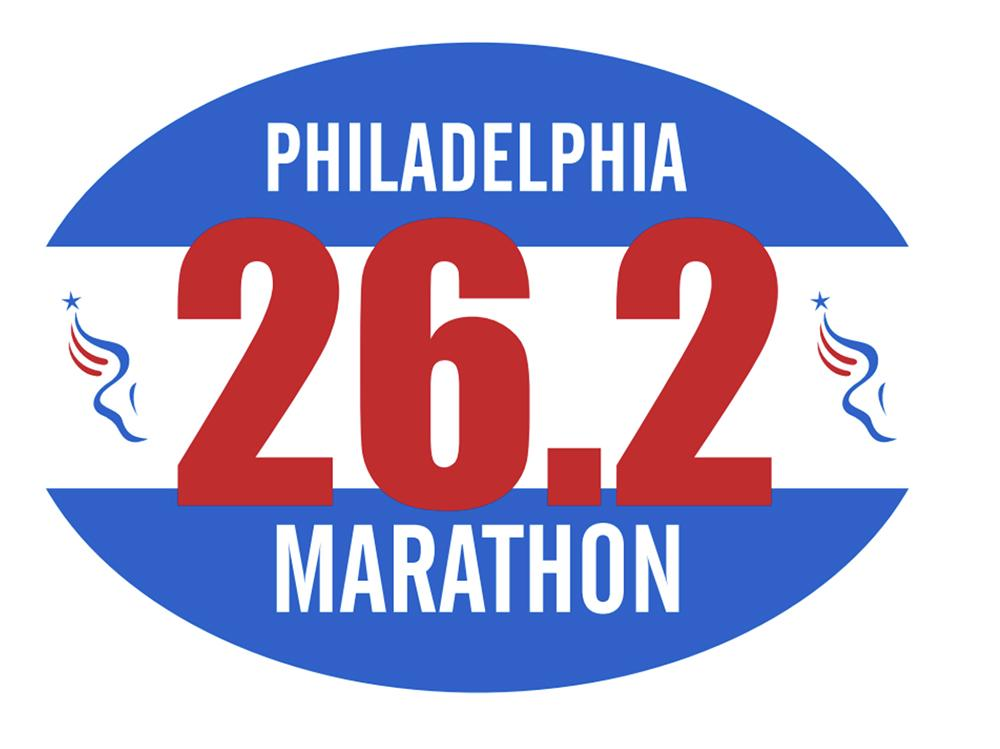 Philadelphia Marathon: 'Event Logo' 26.2 Sticker - White/Blue
