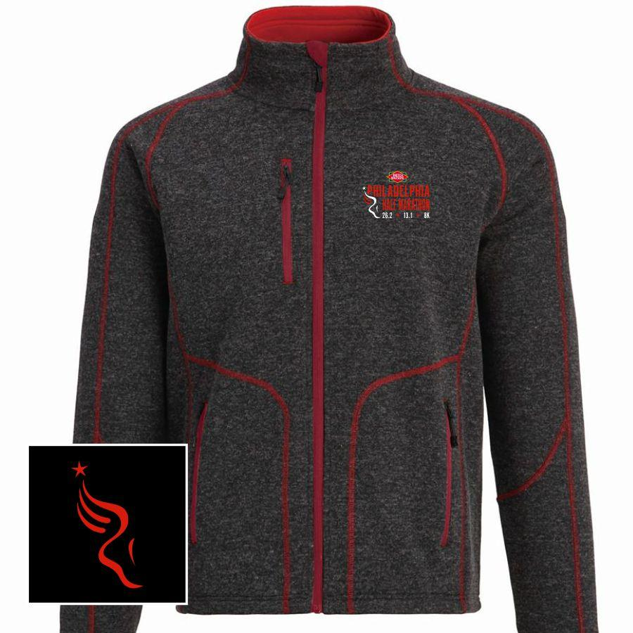Dietz & Watson Philadelphia Half Marathon Embroidered Men's Bonded Fleece Full Zip Sweater Jacket - Charcoal / Red