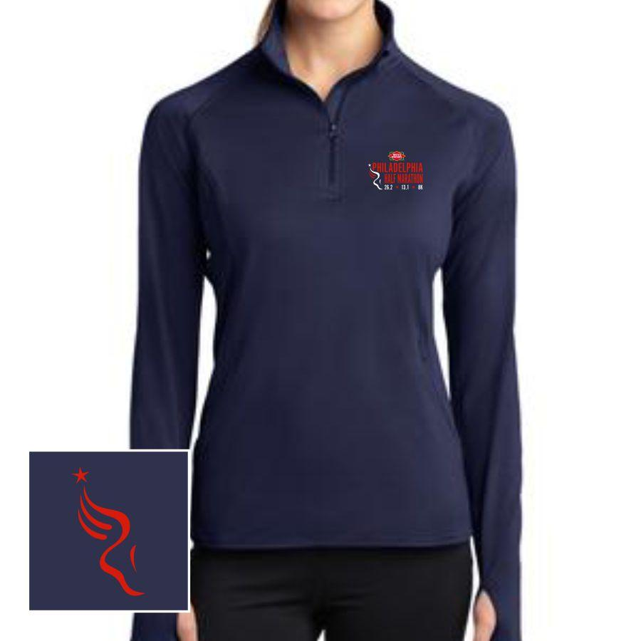 Dietz & Watson Philadelphia Half Marathon Embroidered Women's Tech 1/2 Zip Pullover - Navy