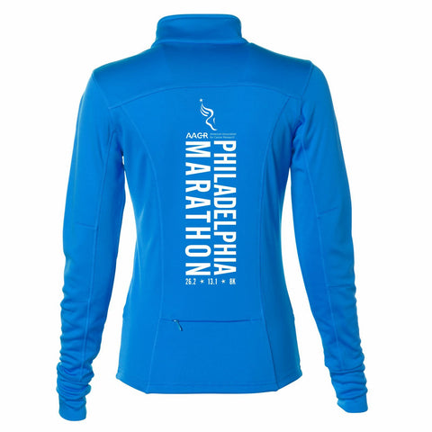 AACR Philadelphia Marathon 'Big Back' Women's Tech Fleece Lightweight Full Zip Jacket - Aster Blue