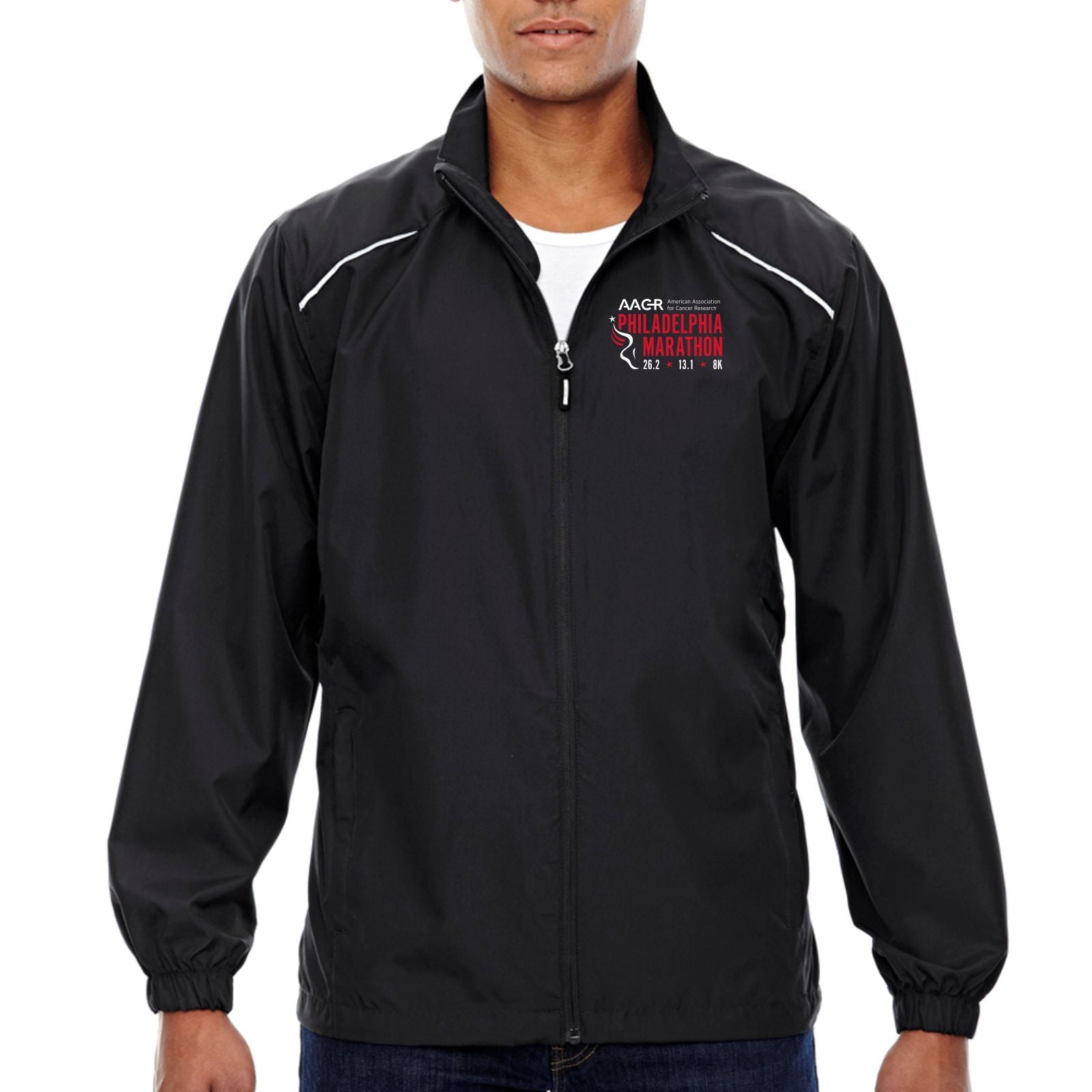 AACR Philadelphia Marathon 'Big Back' Men's Tech Lightweight Full Zip Jacket - Black
