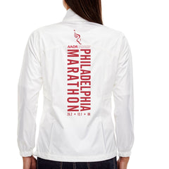 AACR Philadelphia Marathon 'Big Back' Women's Tech Lightweight Full Zip Jacket - White