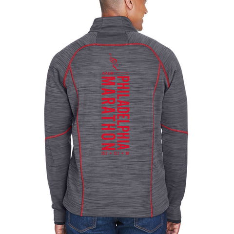 AACR Philadelphia Marathon 'Big Back' Men's Fleece Flux Melange Full Zip Jacket - Carbon/Olympic Red