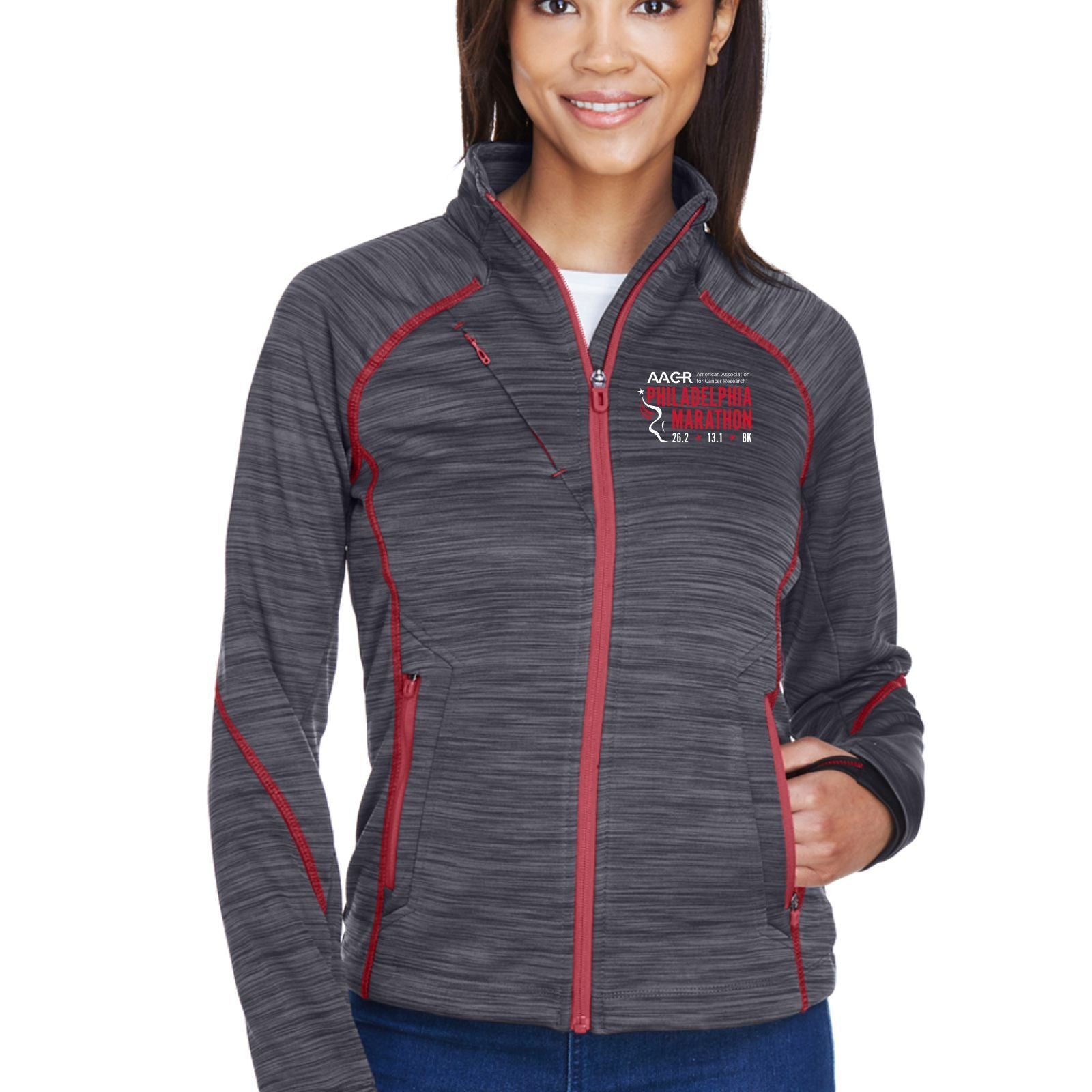 AACR Philadelphia Marathon 'Big Back' Women's Fleece Flux Melange Full Zip Jacket - Carbon/Olympic Red